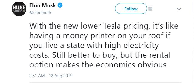 Tesla renting solar panels