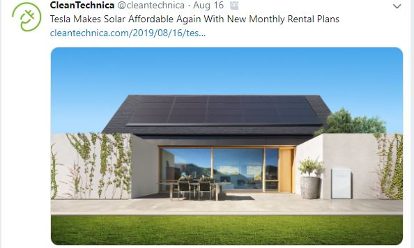 Tesla solar panes for rent