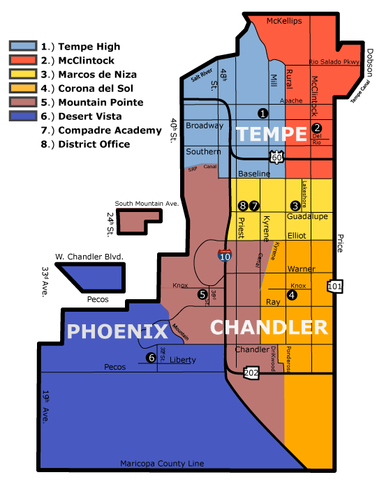 Tempe union High school boundary map